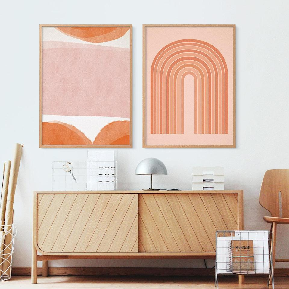 """<h3>Download Designs To Print & Frame At Home</h3> <br>""""My go-hack for purchasing affordable art is to purchase a downloadable design, and then print and frame it yourself. Etsy sellers offer thousands of printable options, even including customizable designs."""" — Dayna Isom Johnson, Trend Expert at <a href=""""https://www.etsy.com/"""" rel=""""nofollow noopener"""" target=""""_blank"""" data-ylk=""""slk:Etsy"""" class=""""link rapid-noclick-resp"""">Etsy</a>.<br><br><strong>fornStudio</strong> Set of 2 abstract prints, Downloadable, $, available at <a href=""""https://go.skimresources.com/?id=30283X879131&url=https%3A%2F%2Fwww.etsy.com%2Flisting%2F687823578%2Fset-of-2-abstract-prints-two-prints-set"""" rel=""""nofollow noopener"""" target=""""_blank"""" data-ylk=""""slk:Etsy"""" class=""""link rapid-noclick-resp"""">Etsy</a><br>"""