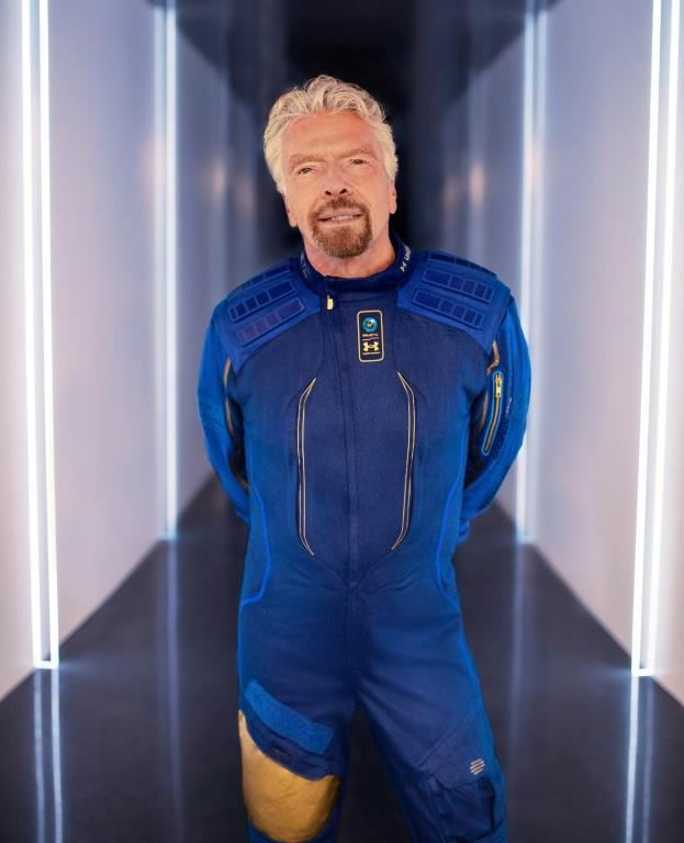 Richard Branson, founder of Virgin Galactic, wearing his company's astronaut space suit