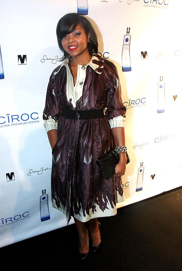 """Actress Taraji P. Henson walks the red carpet in a cute printed trench before entering the bash, sponsored by Ciroc vodka. You wouldn't expect Diddy to pay for his own party, would you? Johnny Nunez/<a href=""""http://www.wireimage.com"""" target=""""new"""">WireImage.com</a> - November 5, 2008"""