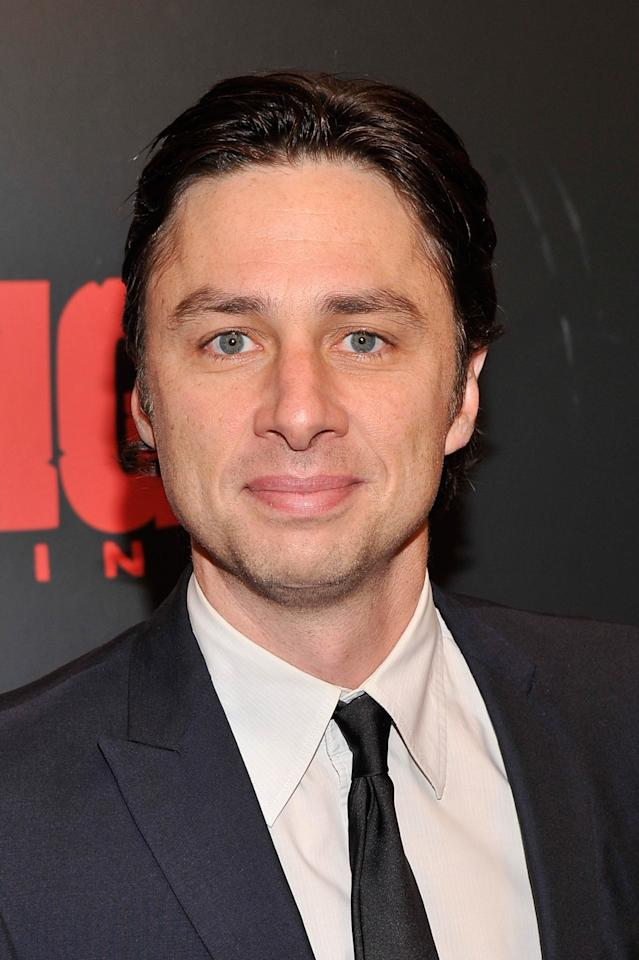"NEW YORK, NY - DECEMBER 11:  Zach Braff attends a screening of ""Django Unchained"" hosted by The Weinstein Company with The Hollywood Reporter, Samsung Galaxy and The Cinema Society at Ziegfeld Theater on December 11, 2012 in New York City.  (Photo by Stephen Lovekin/Getty Images)"
