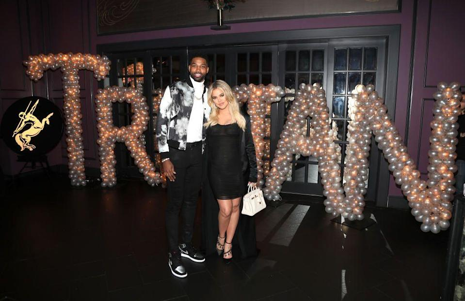 "<p>Khloé Kardashian is no stranger to dating athletes. (Remember, she was married to Lamar Odom for seven years.) She dated Cleveland Cavaliers player Tristan Thompson in 2016, soon after her divorce. </p><p>In 2017, she <a href=""https://www.instagram.com/p/Bc8PFjuFjlp/?utm_source=ig_embed"" rel=""nofollow noopener"" target=""_blank"" data-ylk=""slk:announced her pregnancy"" class=""link rapid-noclick-resp"">announced her pregnancy</a>. Days before their daughter True's birth, cheating rumors swirled, but the couple remained together. A year later, they broke up when Tristan admitted to cheating on Khloé with Kylie Jenner's BFF Jordyn Woods. Now? <a href=""https://people.com/tv/khloe-kardashian-tristan-thompson-giving-their-relationship-another-try-source/"" rel=""nofollow noopener"" target=""_blank"" data-ylk=""slk:Rumors are swirling"" class=""link rapid-noclick-resp"">Rumors are swirling</a> that they're giving it another shot.</p>"