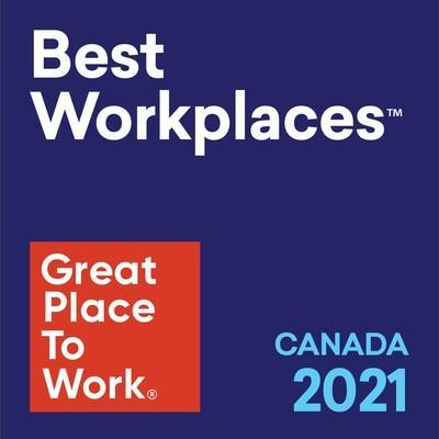 CWB Financial Group is recognized as number 28 on this year's Best Workplaces™ in Canada. The honour marks the second straight year that CWB places inside the top 50, moving up from 41 in 2020. (CNW Group/CWB Financial Group)
