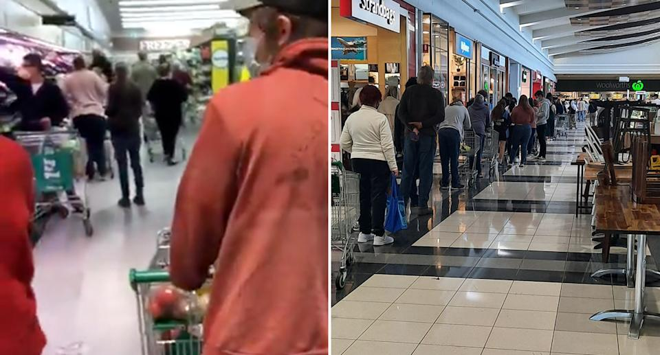 Crowds inside Woolworths Armidale on the left and the long queue outside the supermarket on the right.