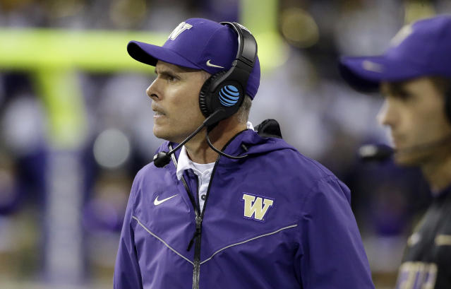 Washington head coach Chris Petersen looks on against California in the second half of an NCAA college football game Saturday, Oct. 7, 2017, in Seattle. (AP Photo/Elaine Thompson)