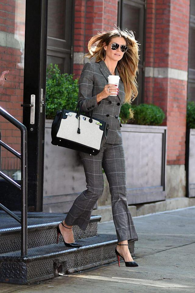 Heidi Klum was spotted in a printed suit in New York City. (Photo: Splash)