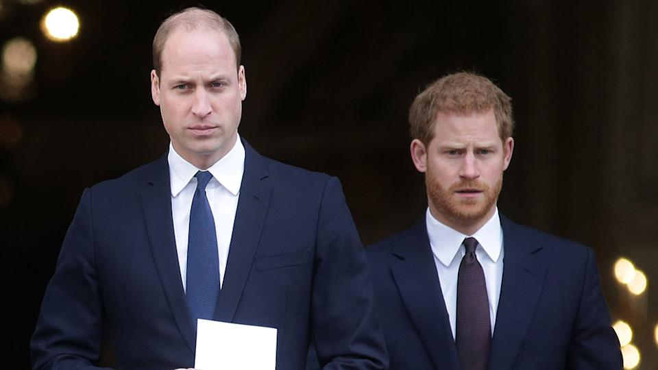 Despite reconnecting at Prince Philip's funeral last month, royal experts claim Prince Harry and Prince William are 'not talking'. Photo: Getty