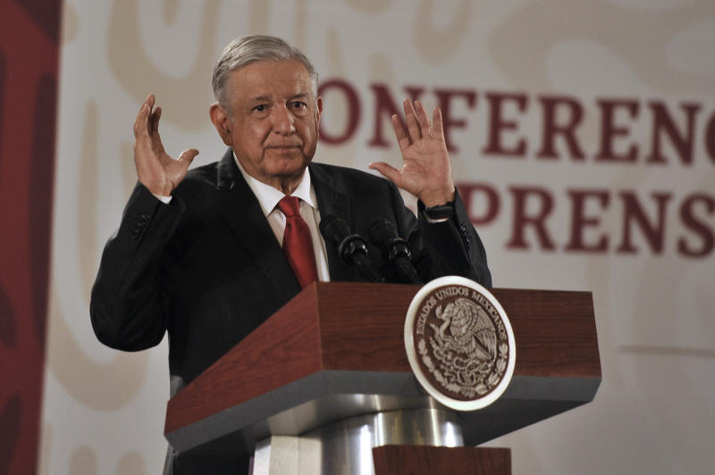 MEXICO CITY, MEXICO - SEPTEMBER 25: President of Mexico Andres Manuel Lopez Obrador speaks during the morning press conference at National Palace on September 25, 2019 in Mexico City, Mexico. (Photo by Pedro Gonzalez Castillo/Getty Images)