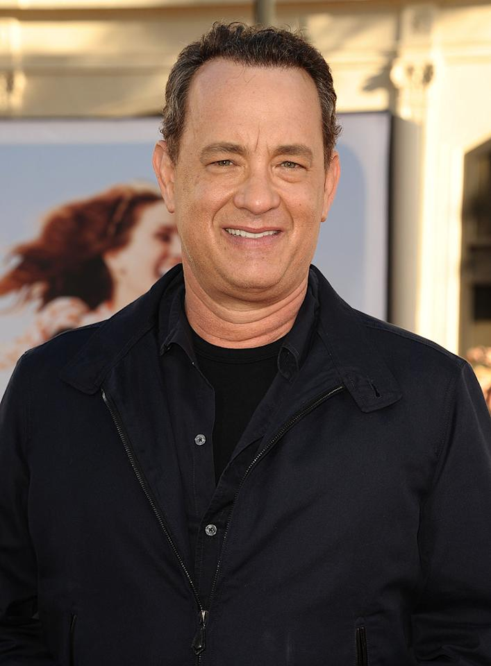 """<a href=""""http://movies.yahoo.com/movie/contributor/1800010392"""">Tom Hanks</a> at the Los Angeles premiere of <a href=""""http://movies.yahoo.com/movie/1810196533/info"""">Larry Crowne</a> on June 27, 2011."""