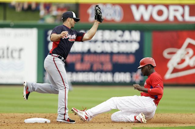 Philadelphia Phillies' Domonic Brown, right, steals second base ahead of the tag by Atlanta Braves second baseman Dan Uggla during the second inning of an exhibition baseball game Wednesday, March 5, 2014, in Clearwater, Fla. (AP Photo/Charlie Neibergall)