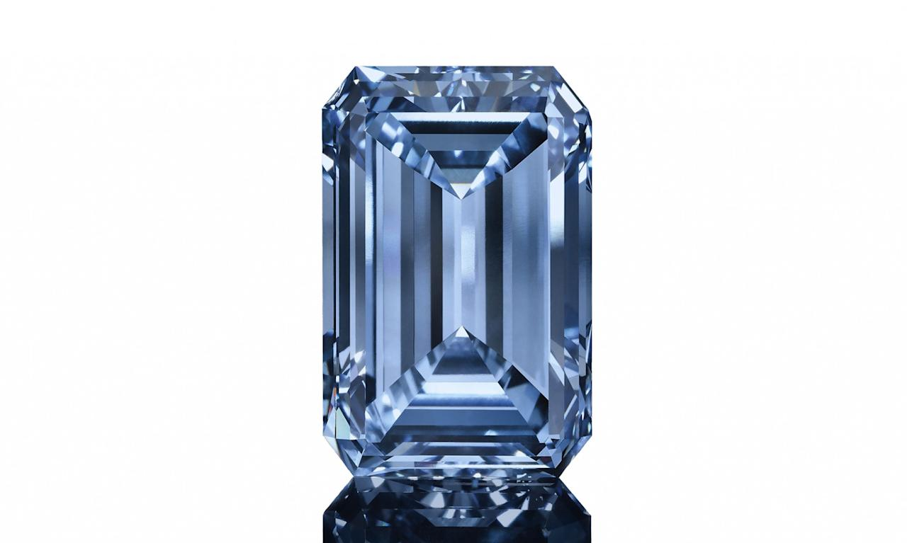 "<p>""The Oppenheumer Blue"" diamond, a 14.62 carat Fancy Vivid blue emerald cut diamond from a De Beers mine valued at $57.5 million </p>"