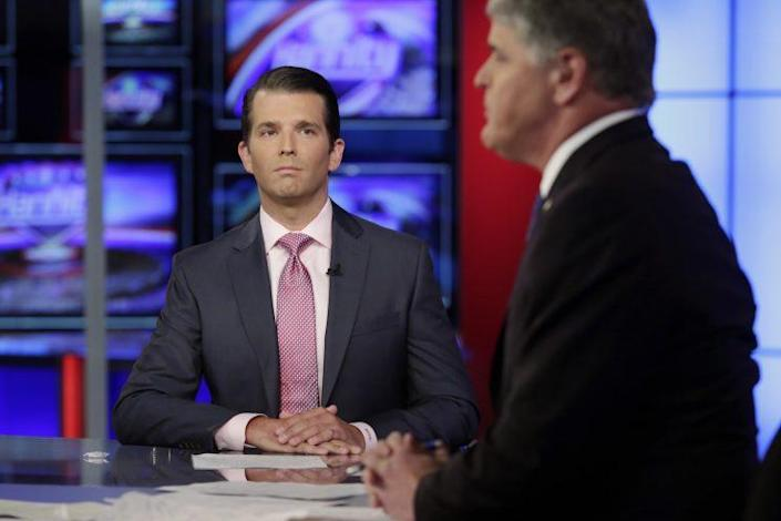 Donald Trump Jr., left, is interviewed by host Sean Hannity on his Fox News Channel television program, in New York Tuesday, July 11, 2017. (Photo: Richard Drew/AP)