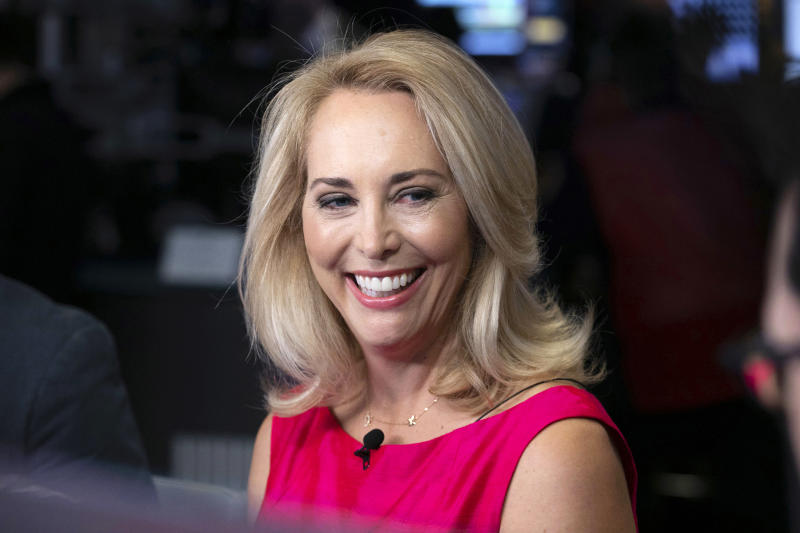 FILE - In this Oct. 22, 2018, file photo, former CIA operative Valerie Plame is interviewed on the floor of the New York Stock Exchange. New Mexico congressional candidate and former CIA operative Valerie Plame is wading into the discussion about President Trump's rationale for ordering the killing of a top Iranian general. Plame on Wednesday, Jan. 8, 2020, questioned Trump's justification for ordering the attack and said the lives of thousands of American troops are at risk. (AP Photo/Richard Drew, File)