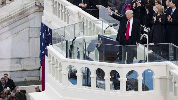 PHOTO: President Donald Trump waves to the crowds during the 58th U.S. Presidential Inauguration after he was sworn in as the 45th President of the United States of America, Jan. 20, 2017. (Samuel Corum/Anadolu Agency/Getty Images)