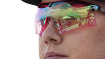 <p>Kayle Browning, of the United States, looks at the range before competing in the women's trap at the Asaka Shooting Range in the 2020 Summer Olympics, Wednesday, July 28, 2021, in Tokyo, Japan. (AP Photo/Alex Brandon)</p>