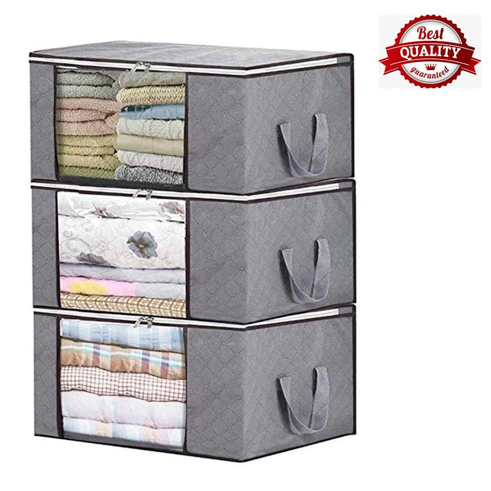 Storage Bag Organizers, Large Clear Window & Carry Handles, Great for Clothes, Blankets, Closets, Bedrooms, and More(
