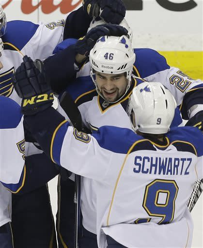 St. Louis Blues' Roman Polak (46), of the Czech Republic, is congratulated by Jaden Schwartz (9) and other teammates after scoring off Minnesota Wild goalie Niklas Backstrom, of Finland, in the first period of an NHL hockey game on Thursday, April 11, 2013, in St. Paul. (AP Photo/Jim Mone)