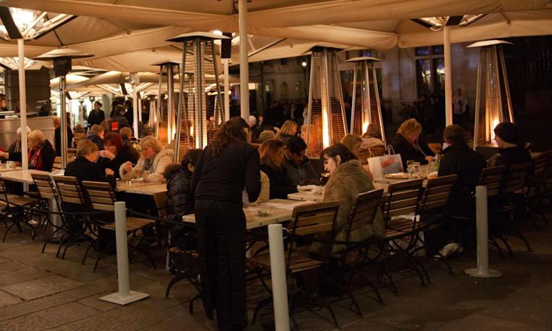 People eating outdoors at a restaurant in winter (photo taken pre-Covid-19).