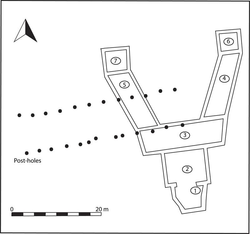 This diagram shows the Y-shaped Roman building, which dates back around 1,800 years. Sometime later another Roman structure, whose postholes remain, was built on top of it. CREDIT: William Bowden