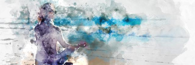 Watercolor a woman sitting on a beach with her hands out meditating. Purple paining of woman with gray and blue bakcgrounds