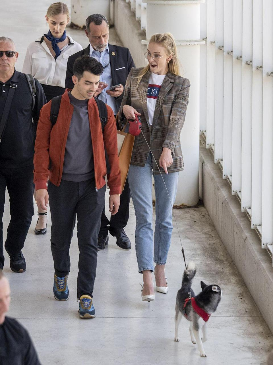 """<p>Sophie and Joe are dog lovers, and were proud parents to two Alaskan Klei Klai dogs - one, presumed to be Porky Basquit - <a href=""""https://www.elle.com/uk/life-and-culture/wedding/a28243451/sophie-turner-wedding-dress-joe-jonas-porky-basquit/"""" rel=""""nofollow noopener"""" target=""""_blank"""" data-ylk=""""slk:was even a groomsman on their wedding day in July."""" class=""""link rapid-noclick-resp"""">was even a groomsman on their wedding day in July. </a></p><p>Sadly, their dog Waldo was tragically killed in traffic in New York shortly after they married. The<a href=""""https://www.elle.com/uk/life-and-culture/a28539094/sophie-turner-joe-jonas-matching-tattoos-dead-dog/"""" rel=""""nofollow noopener"""" target=""""_blank"""" data-ylk=""""slk:couple commemorated him with matching tattoos"""" class=""""link rapid-noclick-resp""""> couple commemorated him with matching tattoos</a>, they shortly got a new puppy <a href=""""https://www.elle.com/uk/life-and-culture/a28605380/sophie-turner-joe-jonas-new-puppy/"""" rel=""""nofollow noopener"""" target=""""_blank"""" data-ylk=""""slk:who Turner took with her on holiday in August."""" class=""""link rapid-noclick-resp"""">who Turner took with her on holiday in August.</a></p>"""