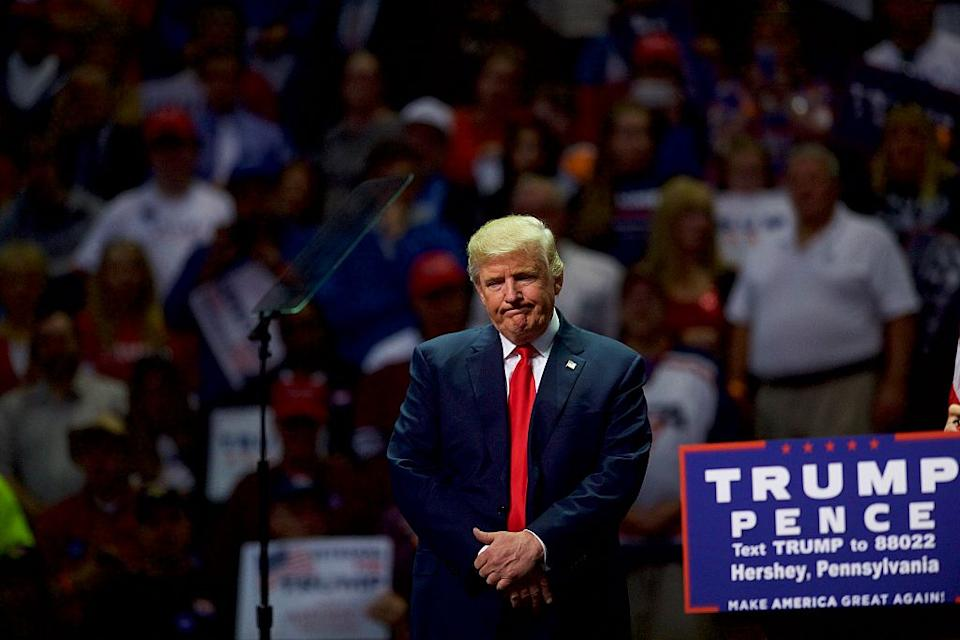 Republican Presidential nominee Donald Trump holds a rally at Giant Centre in Pennsylvania.