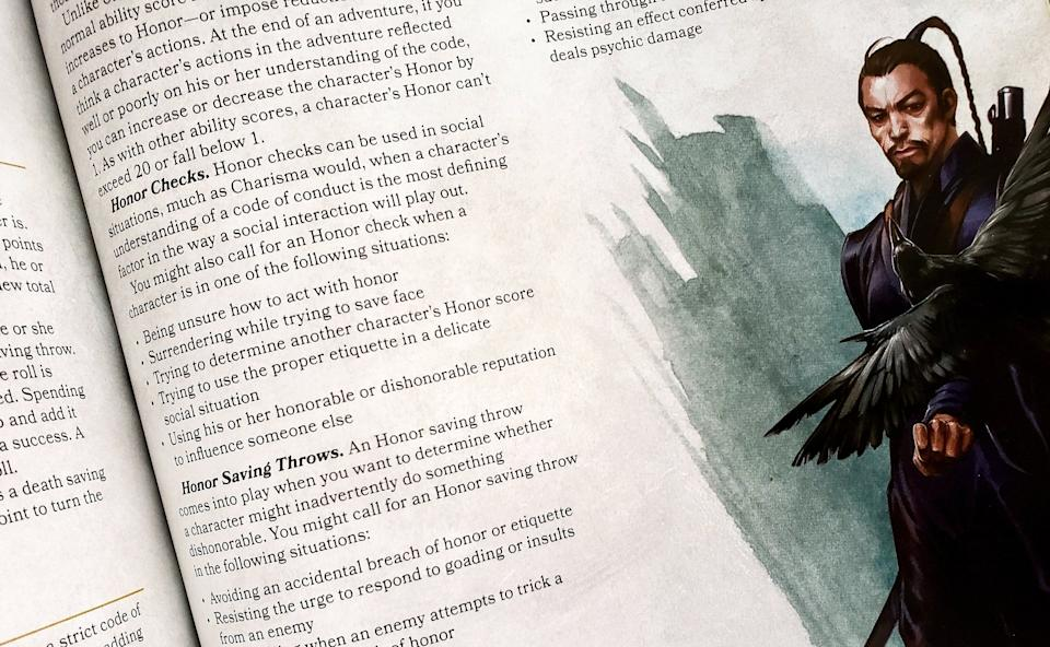 """An image of rules from the current D&D """"Dungeon Master's Guide,"""" with suggestions to """"act with honor"""" and """"surrendering while trying to save face."""" (Photo: HuffPost US)"""