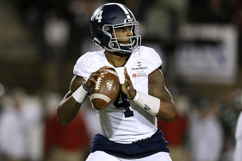 MONTGOMERY, AL - DECEMBER 15: Shai Werts #4 of the Georgia Southern Eagles throws the ball during the Raycom Media Camellia Bowl against the Eastern Michigan Eagles on December 15, 2018 in Montgomery, Alabama. (Photo by Jonathan Bachman/Getty Images)