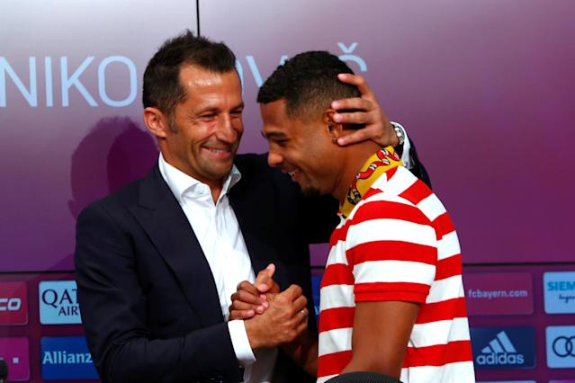 Soccer Football - Bayern Munich Press Conference - Allianz Arena, Munich, Germany - July 2, 2018 Bayern Munich's Serge Gnabry and Bayern Munich sporting director Hasan Salihamidzic after the press conference REUTERS/Michaela Rehle
