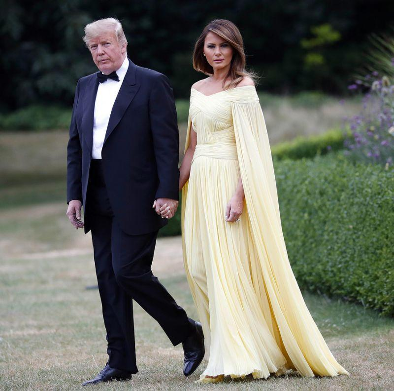 President Trump and first lady Melania Trump leave Winfield House, the residence of the U.S. ambassador, before a helicopter flight to nearby Blenheim Palace, on July 12. (Photo: Pablo Martinez Monsivais/AP)