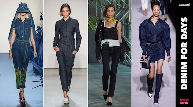"<p><i>The Canadian Tuxedo look gets an update. All over denim looks from denim jumpsuits to jackets and skirt combos, as well as denim corset bustiers with skinny jeans, are no longer a fashion ""don't."" (Photo: ImaxTree) </i></p>"