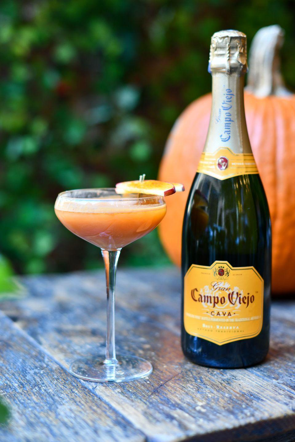 <p><strong>Ingredients</strong></p><p>1.5 oz dark rum<br>1 oz pumpkin spice syrup<br>.5 oz fresh lime juice<br>2 oz Campo Viejo Cava</p><p><strong>Instructions</strong></p><p>Mix all ingredients besides cava in shaker, shake and strain into a martini glass. Top with cava and garnish.</p>