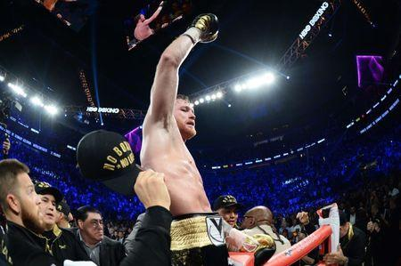 Sep 15, 2018; Las Vegas, NV, USA; Canelo Alvarez reacts after defeating Gennady Golovkin (not pictured) in the middleweight world championship boxing match at T-Mobile Arena. Alvarez won via majority decision. Mandatory Credit: Joe Camporeale-USA TODAY Sports