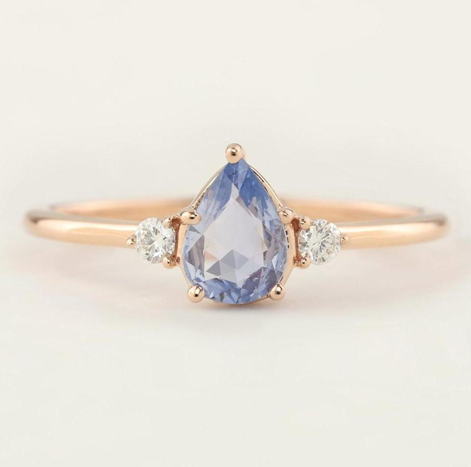 <p>Find a sapphire stone piece like this <span>Envero Jewelry Pear-Cut Sapphire Ring</span> ($800).</p>