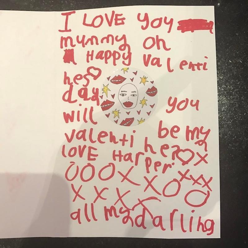 """<p>The fashionista proudly showed off the valentine she received from """"my little Valentine,"""" presumably her 5-year-old daughter, Harper. (Photo:<a rel=""""nofollow noopener"""" href=""""https://www.instagram.com/p/BQf2kaeg8GT/"""" target=""""_blank"""" data-ylk=""""slk:Instagram"""" class=""""link rapid-noclick-resp""""> Instagram</a>) /""""> Instagram) </p>"""