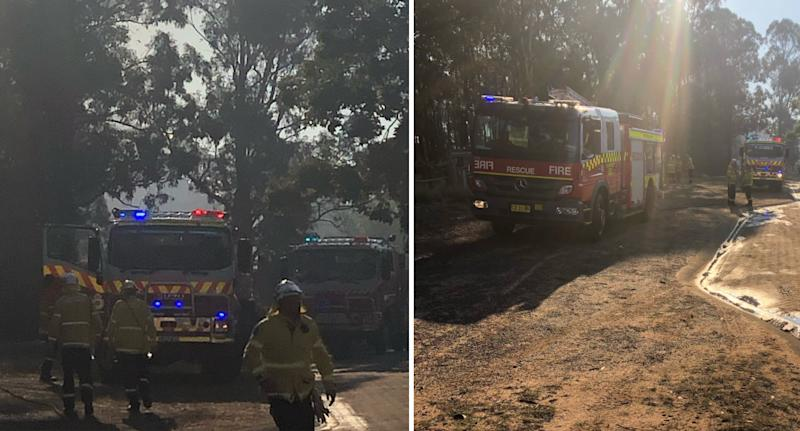 Photo shows fire crews fighting a fire at Windsor Downs Nature Reserve.