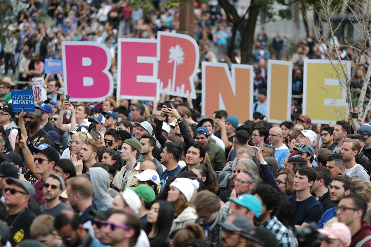 Bernie Sanders supporters at a rally in Los Angeles, March 23, 2019. (Photo: Lucy Nicholson/Reuters)