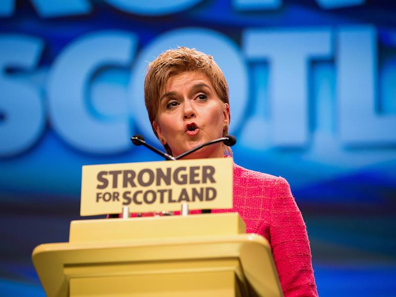 Nicola Sturgeon addresses the SNP's spring conference in Glasgow today: EPA
