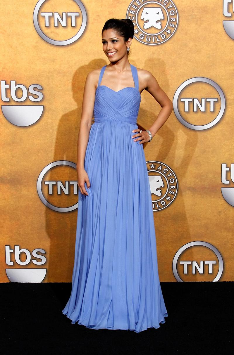 "Frieda Pinto in Marchesa at the 2009 SAG Awards. She starred in The Weinstein Company's ""Miral."" (Michael Buckner via Getty Images)"