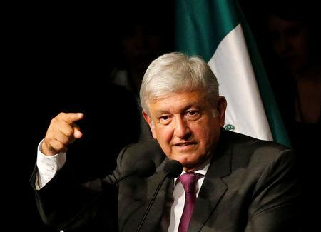 Mexico presidential candidate Andres Manuel Lopez Obrador of the National Regeneration Movement (MORENA), gives a speech as he presents his manifesto in Mexico City