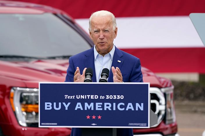Democratic presidential nominee Joe Biden speaks Sept. 9, 2020, during a campaign event on manufacturing and buying American-made products at UAW Region 1 headquarters in Warren, Mich.