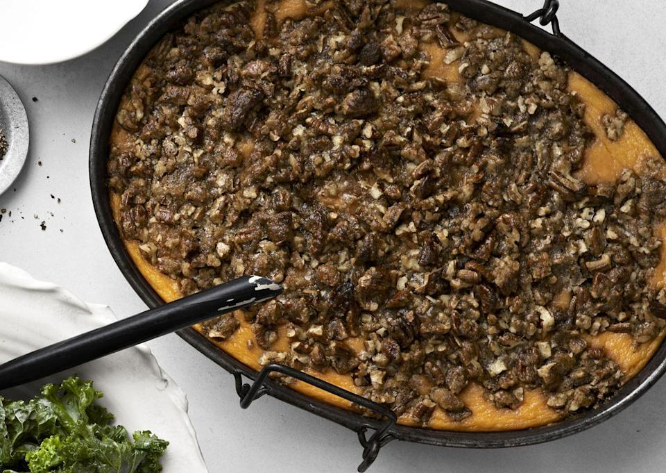 """<p>Just about everyone has a favorite sweet potato recipe for Thanksgiving dinner. Ours can be made ahead and then reheated before serving.</p><p><strong><a href=""""https://www.countryliving.com/food-drinks/recipes/a913/roasted-sweet-potato-casserole-praline-streusel-3014/"""" rel=""""nofollow noopener"""" target=""""_blank"""" data-ylk=""""slk:Get the recipe"""" class=""""link rapid-noclick-resp"""">Get the recipe</a>.</strong></p>"""