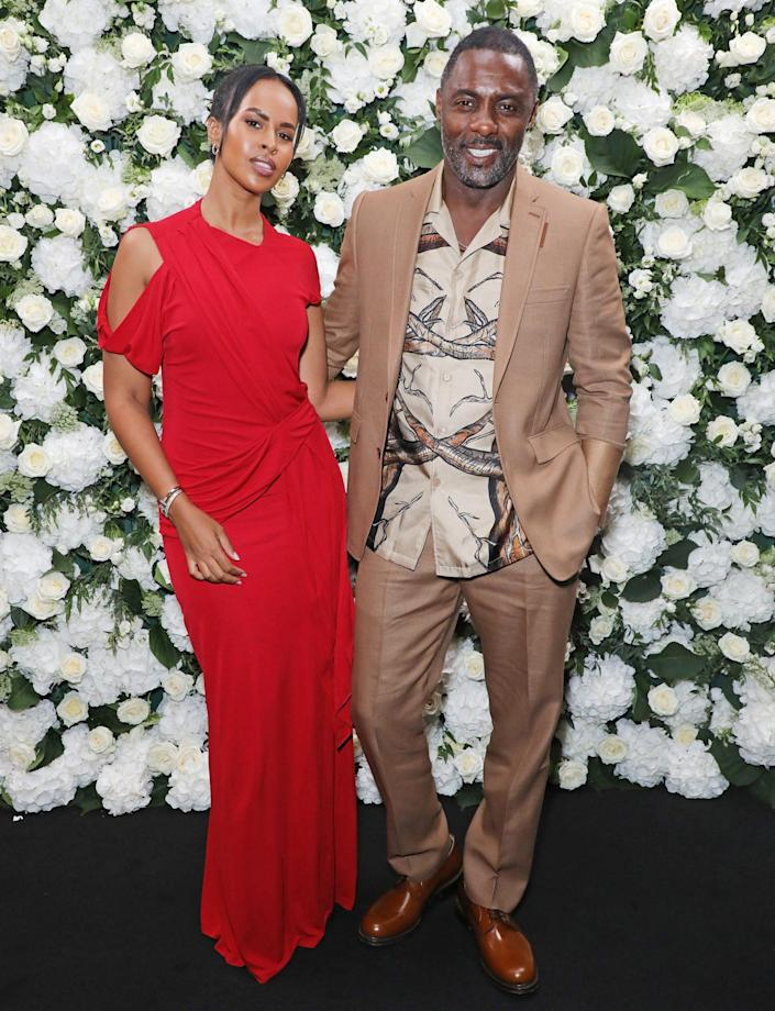 <p>Sabrina Dhowre and Idris Elba get all dressed up on Sept. 20 for a dinner hosted by British <em>Vogue</em> and Tiffany & Co. in celebration of London Fashion Week at the Londoner Hotel. </p>
