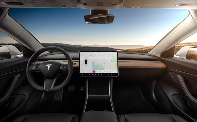 Model 3 interior and 15-inch touch display