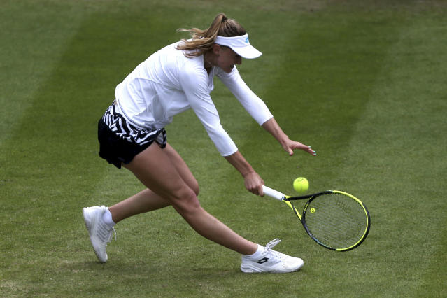 Belarus' Aliaksandra Sasnovich, returns a shot to Venus Williams of the US during day five of the Birmingham Classics, at Edgbaston Priory Club, in Birmingham, England, Wednesday June 19, 2019. (Zac Goodwin/PA via AP)