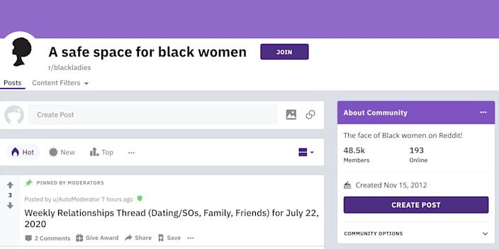 The r/blackladies subreddit has accrued almost 50,000 members.