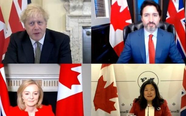A zoom chat between Mr Johnson, Mr Trudeau, Ms Truss and Ms Ng