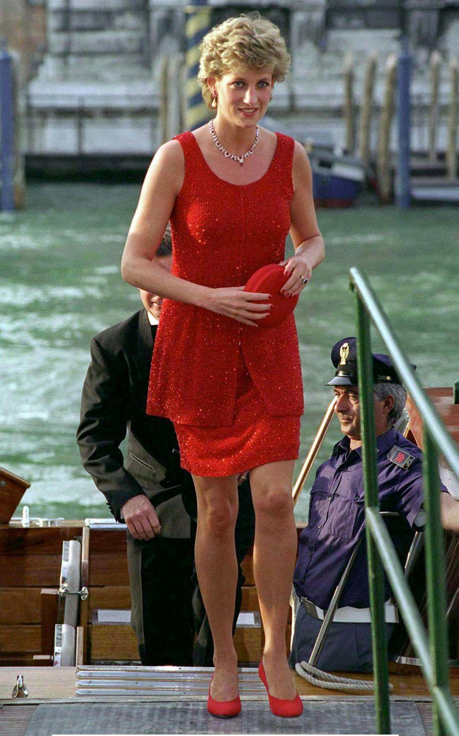 <p>Princess Diana on a dock in Venice, Italy. </p><p>Other celebrity visitors this year: Roseanne Barr.</p>
