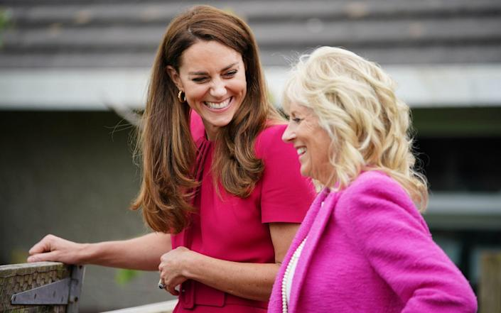In their first meeting, the Duchess of Cambridge and Jill Biden visisted Connor Downs Academy in Hayle, Cornwall - Aaron Chown/PA Wire