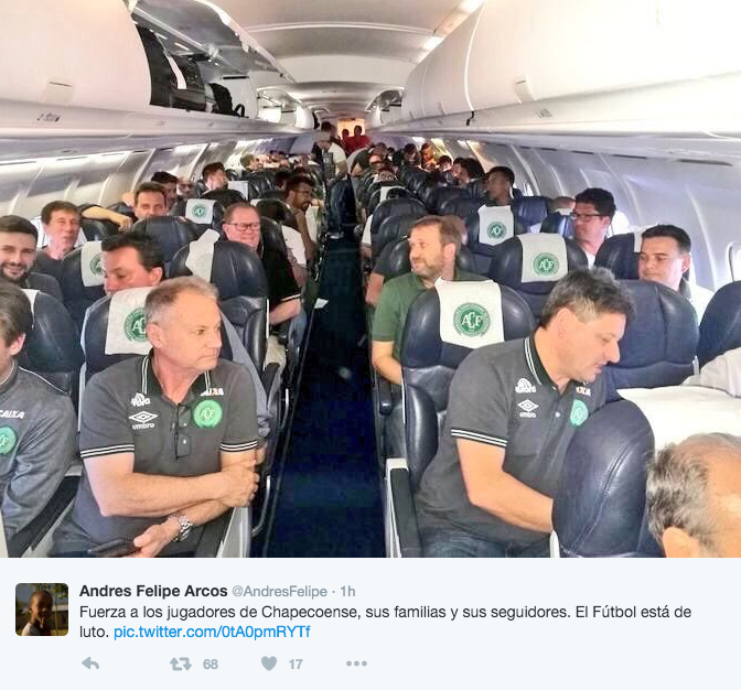 A picture of the Chapecoense team and support staff before takeoff. Source: Twitter