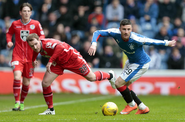 Football Soccer - Rangers v St Mirren - Ladbrokes Scottish Championship - Ibrox - 27/2/16 Rangers' Michael O'Halloran (R) in action with St Mirren's Gary Irvine (L) Mandatory Credit: Action Images / Graham Stuart Livepic EDITORIAL USE ONLY.